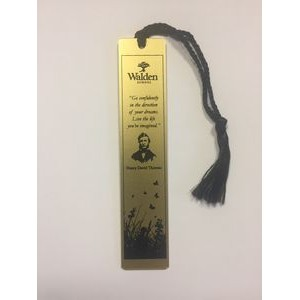 "Gold Aluminum 1"" x 4 7/8"" Bookmark w/ a Screen Printed imprint and assembled tassel. Made in USA"